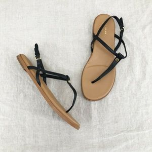 COLE HAAN Black Flora Leather T Strap Thong Sandal